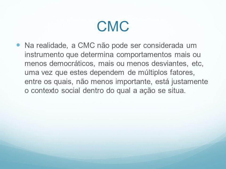 CMC Na realidade, a CMC não pode ser considerada um instrumento que determina comportamentos mais ou menos democráticos, mais ou menos desviantes, etc
