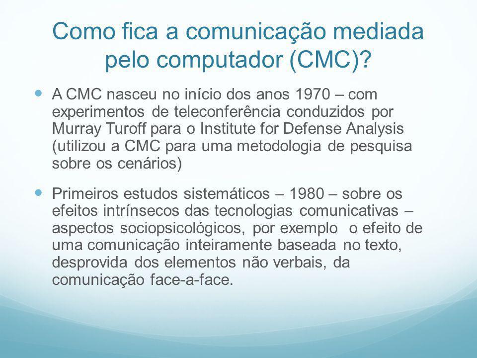 Como fica a comunicação mediada pelo computador (CMC)? A CMC nasceu no início dos anos 1970 – com experimentos de teleconferência conduzidos por Murra