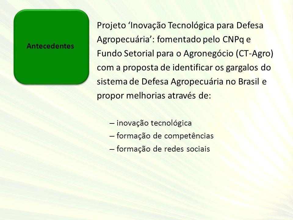 Antecedentes Projeto Inovação Tecnológica para Defesa Agropecuária: fomentado pelo CNPq e Fundo Setorial para o Agronegócio (CT-Agro) com a proposta d