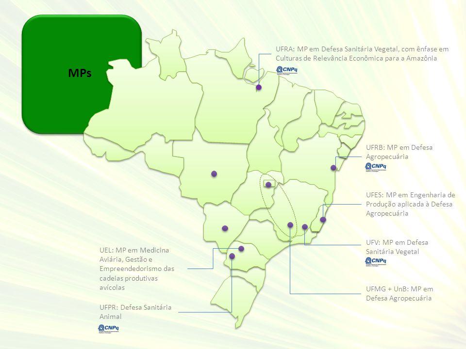 MPs UFRA: MP em Defesa Sanitária Vegetal, com ênfase em Culturas de Relevância Econômica para a Amazônia UFES: MP em Engenharia de Produção aplicada à