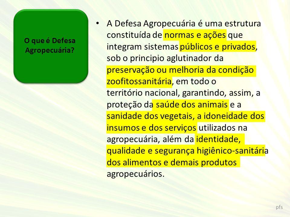 O que é Defesa Agropecuária? A Defesa Agropecuária é uma estrutura constituída de normas e ações que integram sistemas públicos e privados, sob o prin