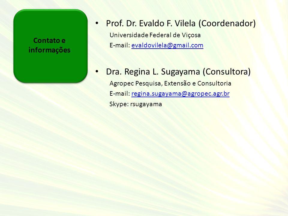 Contato e informações Prof. Dr. Evaldo F. Vilela (Coordenador) Universidade Federal de Viçosa E-mail: evaldovilela@gmail.comevaldovilela@gmail.com Dra