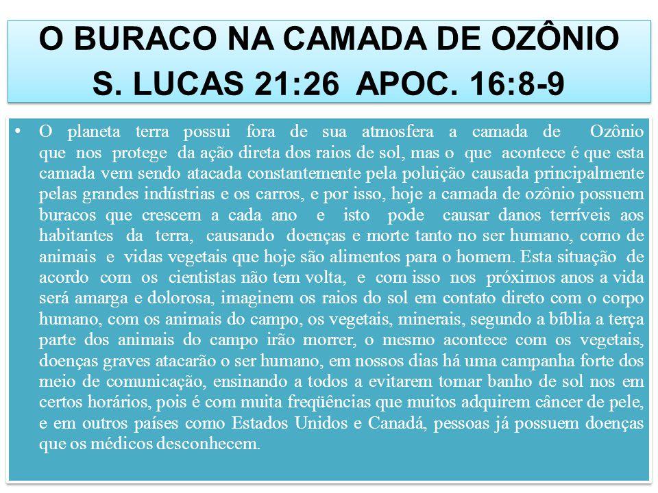 O BURACO NA CAMADA DE OZÔNIO S.LUCAS 21:26 APOC.
