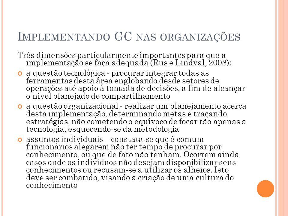 I MPLEMENTANDO GC NAS ORGANIZAÇÕES Três dimensões particularmente importantes para que a implementação se faça adequada (Rus e Lindval, 2008): a quest