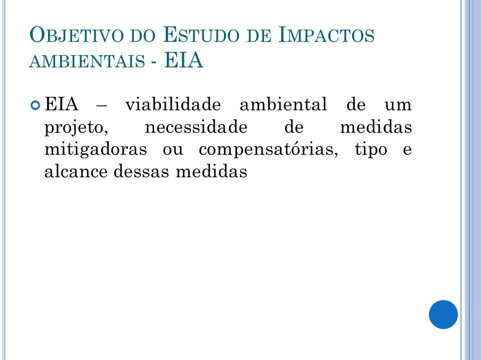 O BJETIVO DO E STUDO DE I MPACTOS AMBIENTAIS - EIA EIA – viabilidade ambiental de um projeto, necessidade de medidas mitigadoras ou compensatórias, ti