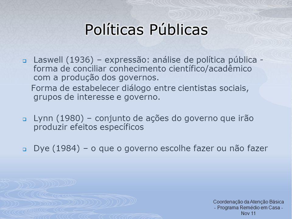 Laswell (1936) – expressão: análise de política pública - forma de conciliar conhecimento científico/acadêmico com a produção dos governos. Forma de e