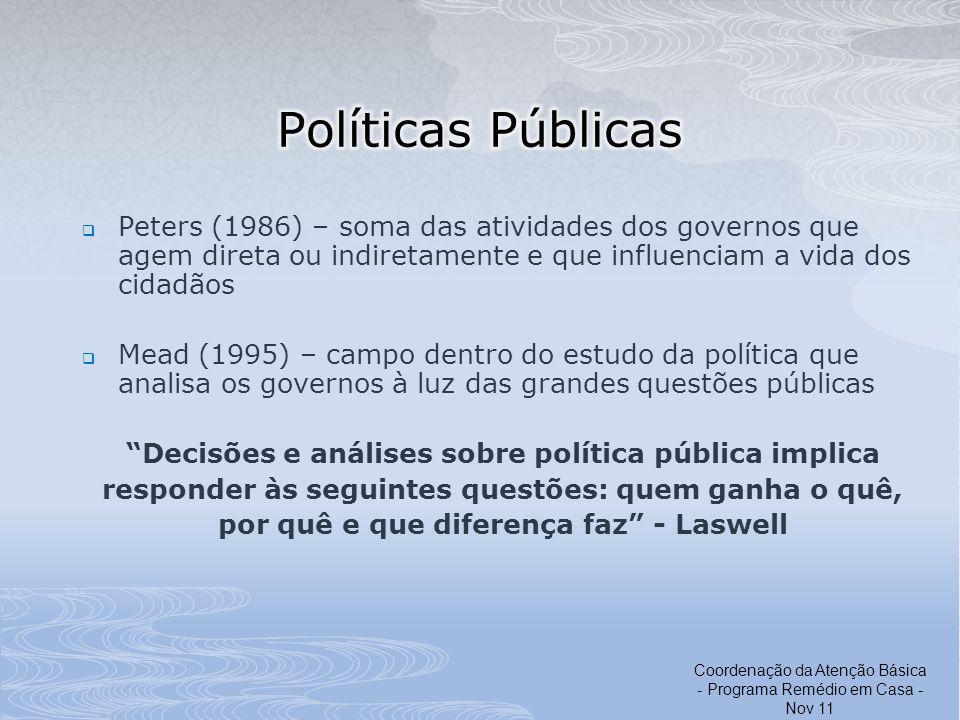 Peters (1986) – soma das atividades dos governos que agem direta ou indiretamente e que influenciam a vida dos cidadãos Mead (1995) – campo dentro do