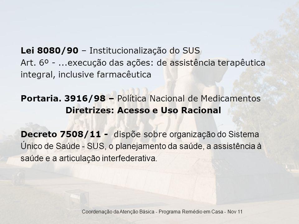 Lei 8080/90 – Institucionalização do SUS Art. 6º -...execução das ações: de assistência terapêutica integral, inclusive farmacêutica Portaria. 3916/98