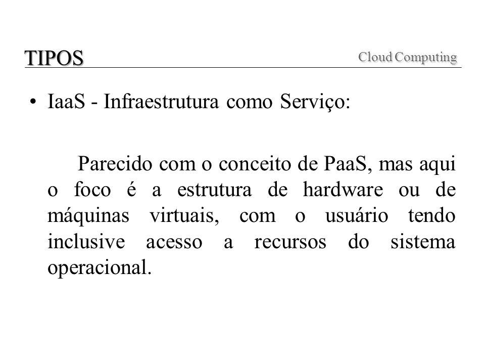 IaaS - Infraestrutura como Serviço: Parecido com o conceito de PaaS, mas aqui o foco é a estrutura de hardware ou de máquinas virtuais, com o usuário