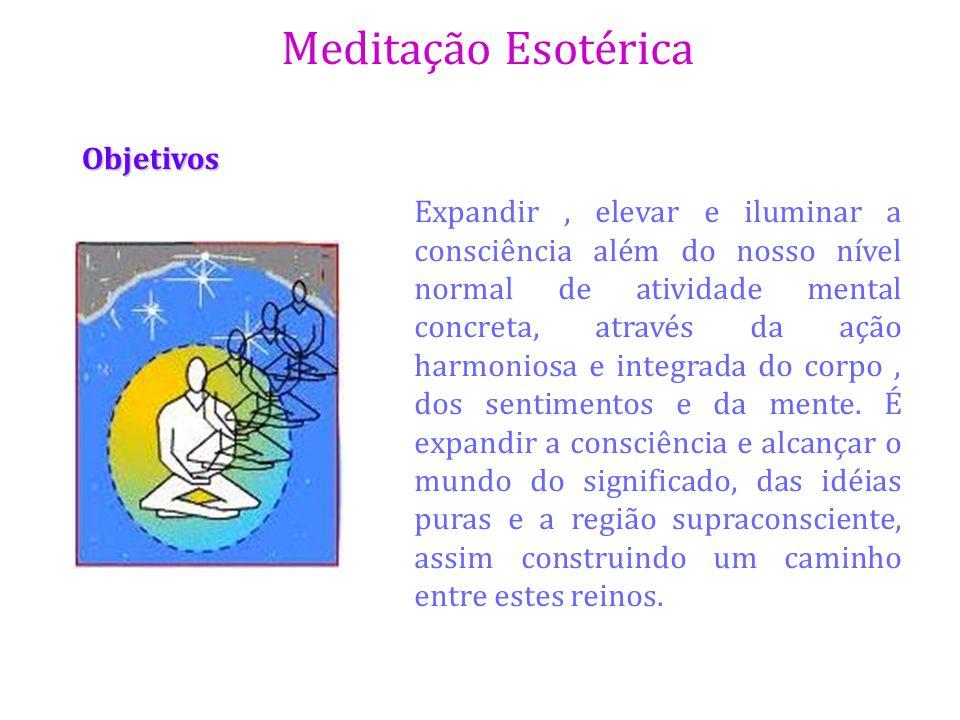 Meditação Esotérica Objetivos Expandir, elevar e iluminar a consciência além do nosso nível normal de atividade mental concreta, através da ação harmo