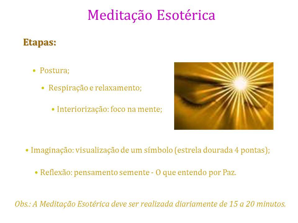Meditação Esotérica Etapas: Postura; Respiração e relaxamento; Interiorização: foco na mente; Imaginação: visualização de um símbolo (estrela dourada