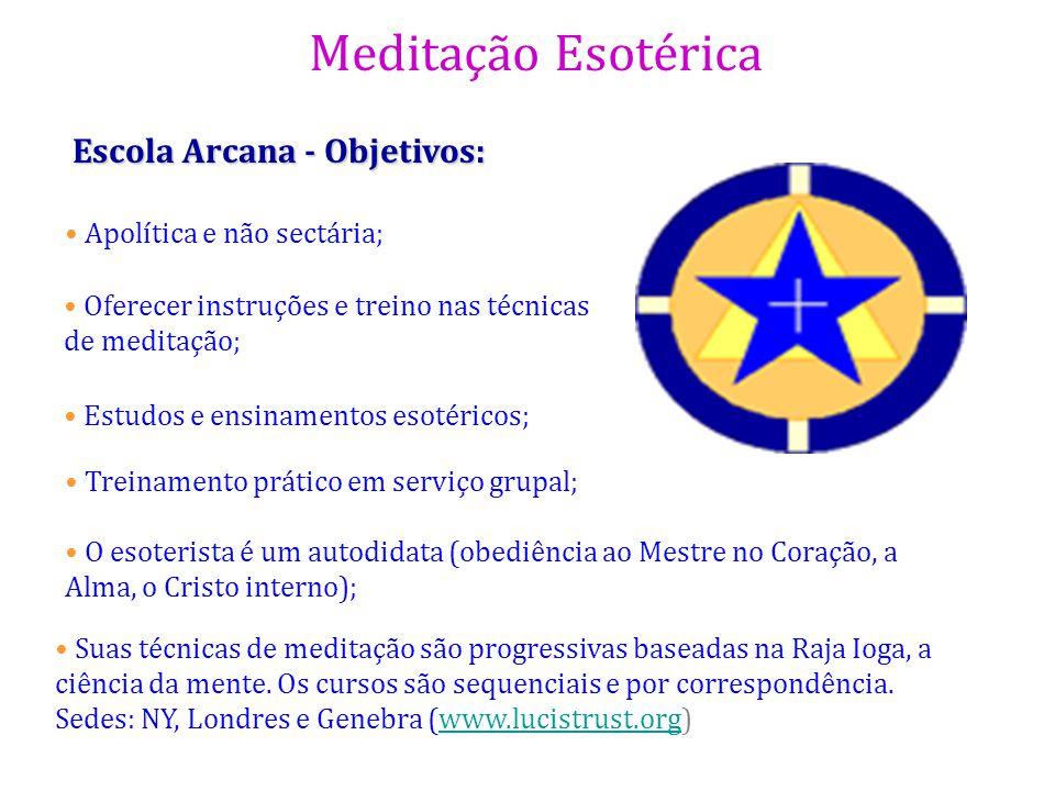 Meditação Esotérica Escola Arcana - Objetivos: Oferecer instruções e treino nas técnicas de meditação; Estudos e ensinamentos esotéricos; Treinamento