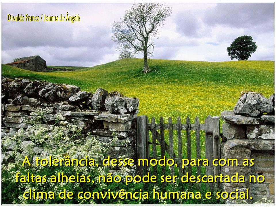 A tolerância, desse modo, para com as faltas alheias, não pode ser descartada no clima de convivência humana e social.