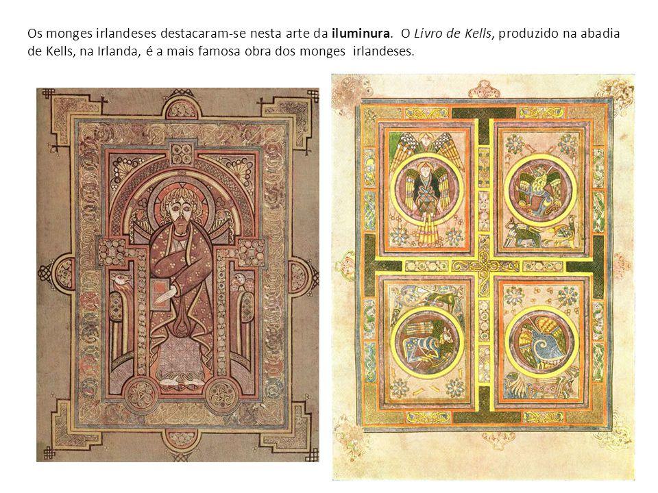 Os monges irlandeses destacaram-se nesta arte da iluminura. O Livro de Kells, produzido na abadia de Kells, na Irlanda, é a mais famosa obra dos monge