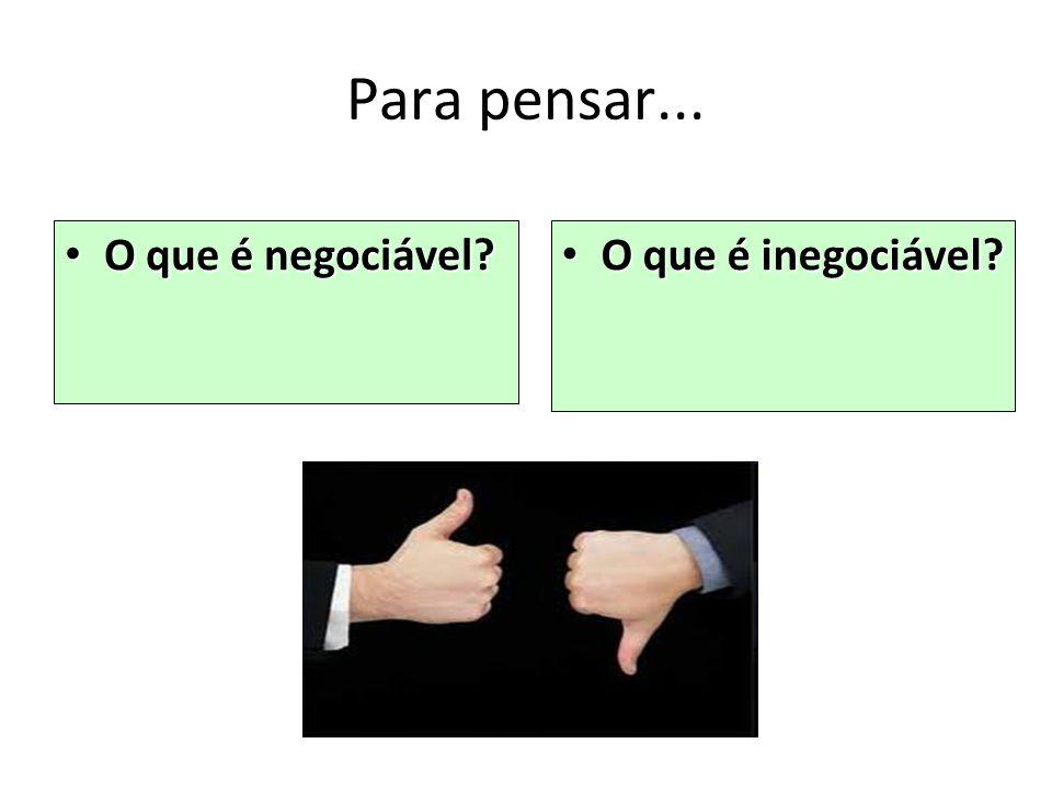Para pensar... O que é negociável? O que é negociável? O que é inegociável? O que é inegociável?