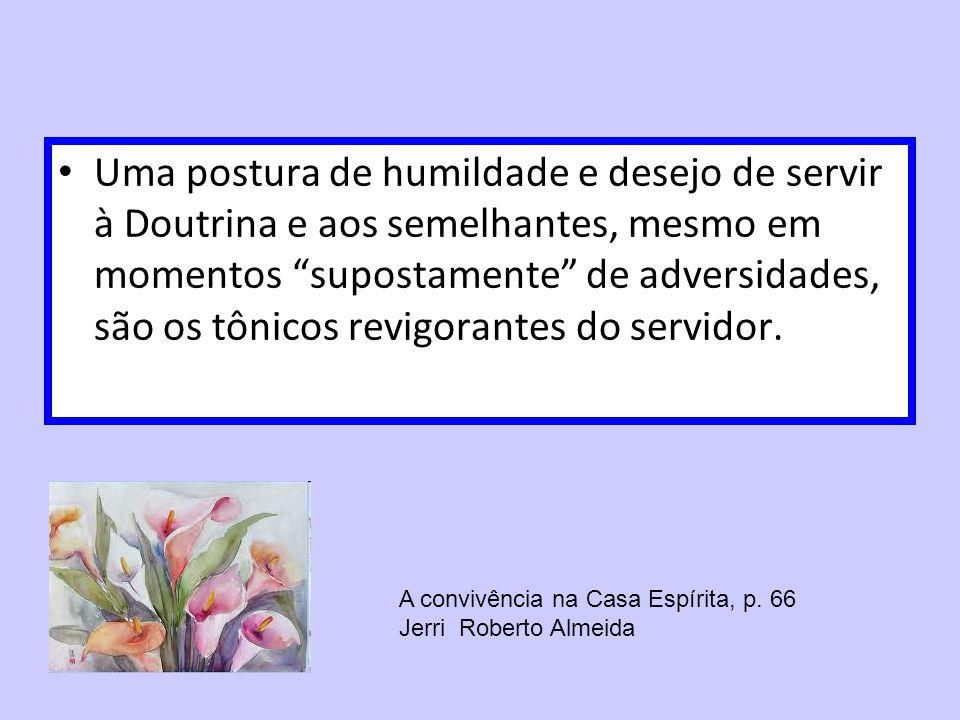 Uma postura de humildade e desejo de servir à Doutrina e aos semelhantes, mesmo em momentos supostamente de adversidades, são os tônicos revigorantes