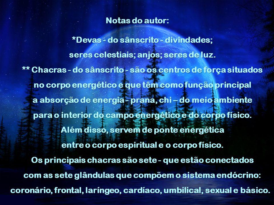 Notas do autor: *Devas - do sânscrito - divindades; seres celestiais; anjos; seres de luz.