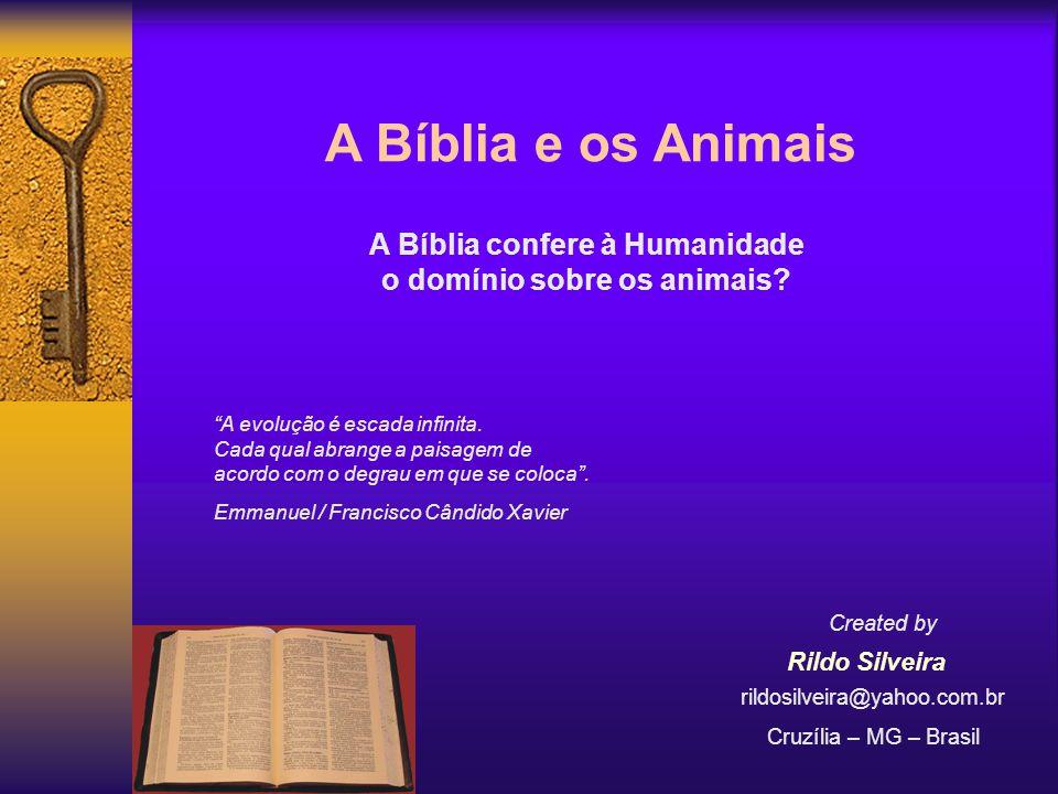 A Bíblia e os Animais A Bíblia confere à Humanidade o domínio sobre os animais.
