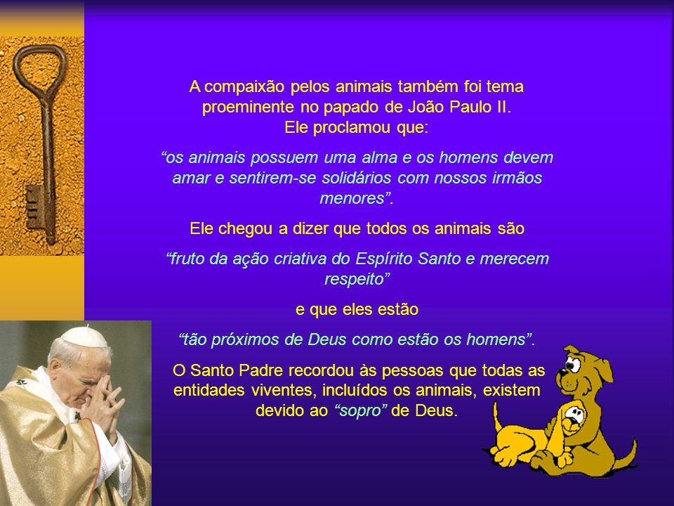 A compaixão pelos animais também foi tema proeminente no papado de João Paulo II.