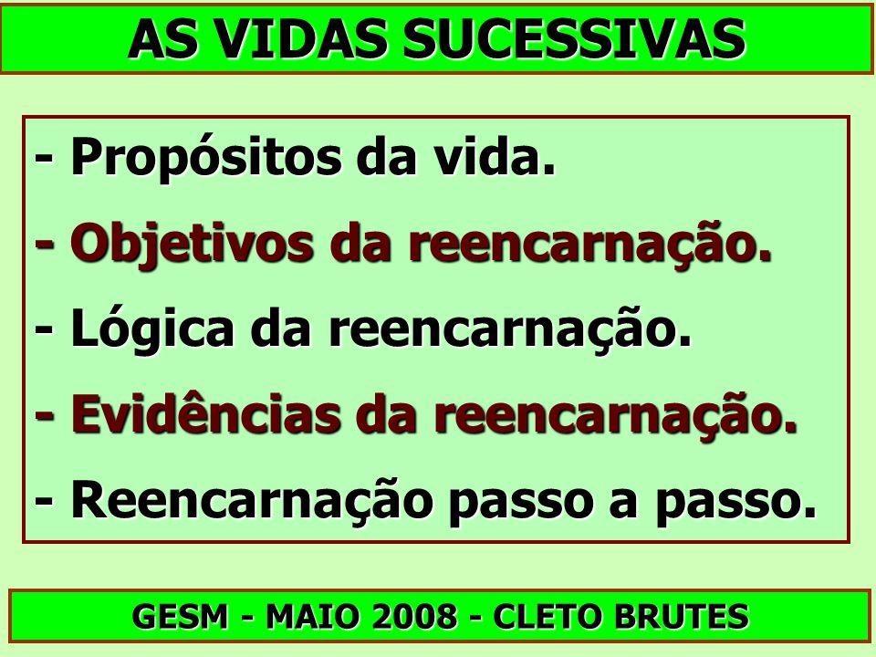AS VIDAS SUCESSIVAS GESM - MAIO 2008 - CLETO BRUTES - Propósitos da vida. - Objetivos da reencarnação. - Lógica da reencarnação. - Evidências da reenc