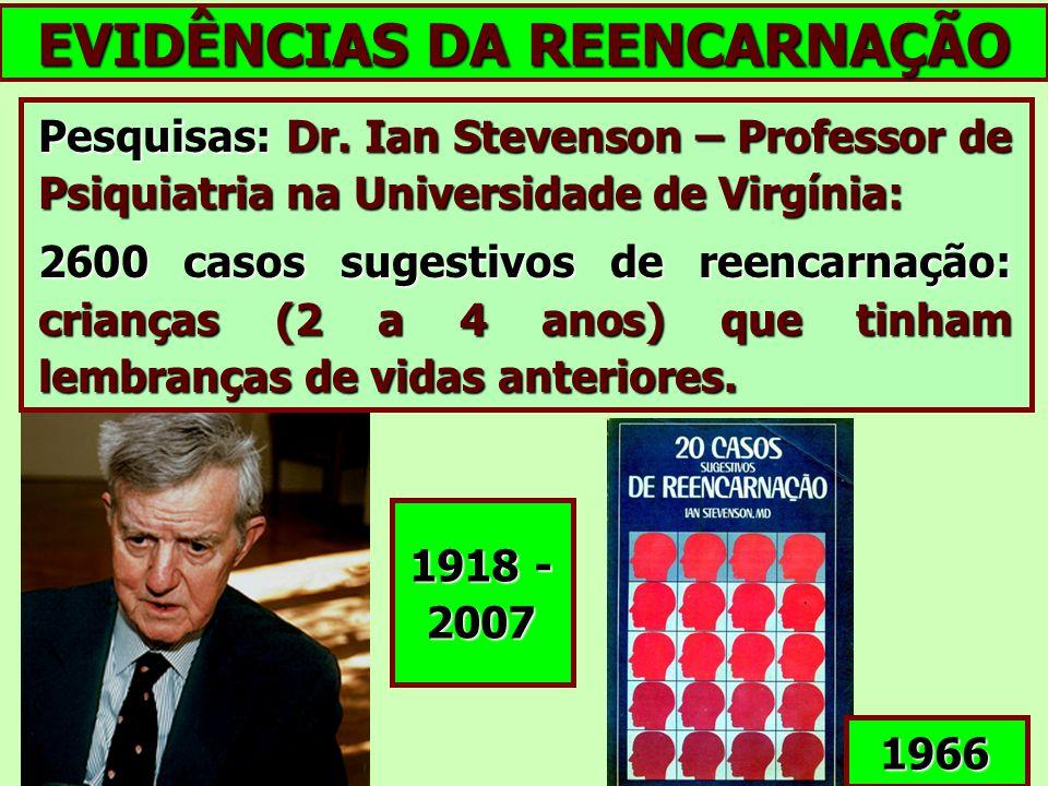 EVIDÊNCIAS DA REENCARNAÇÃO Pesquisas: Dr. Ian Stevenson – Professor de Psiquiatria na Universidade de Virgínia: 2600 casos sugestivos de reencarnação: