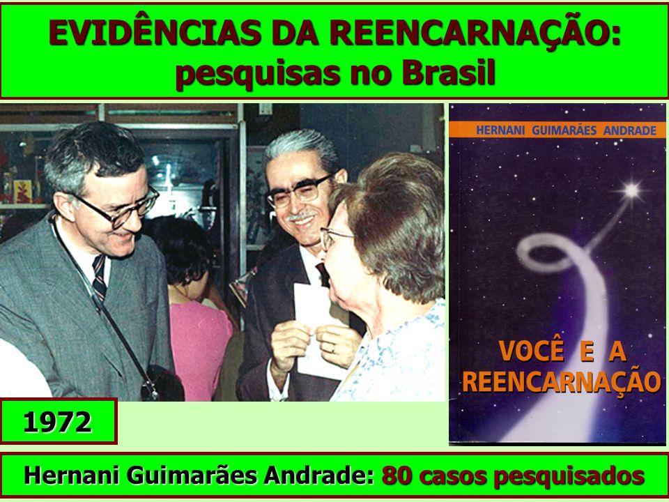 EVIDÊNCIAS DA REENCARNAÇÃO: pesquisas no Brasil Hernani Guimarães Andrade: 80 casos pesquisados 1972