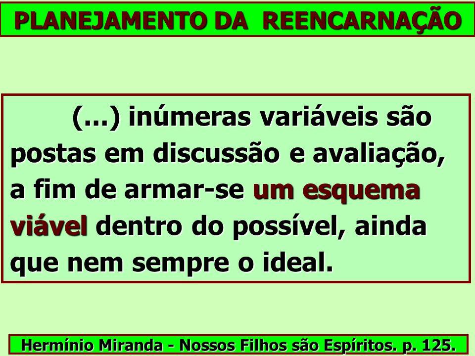 PLANEJAMENTO DA REENCARNAÇÃO (...) inúmeras variáveis são postas em discussão e avaliação, a fim de armar-se um esquema viável dentro do possível, ain