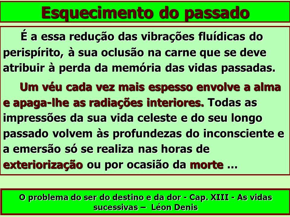 É a essa redução das vibrações fluídicas do perispírito, à sua oclusão na carne que se deve atribuir à perda da memória das vidas passadas. É a essa r