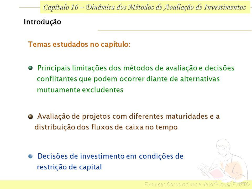 Capítulo 16 – Dinâmica dos Métodos de Avaliação de Investimentos 16.5 Decisões de Investimento sob Restrição de Capital Selecionar um conjunto de alternativas de investimentos que maximize os benefícios econômicos para a empresa Evitar o uso parcial de recursos para que não haja ociosidade dos fundos programados para investimentos Em condições onde o capital é limitado por restrições orçamentárias, deve-se: