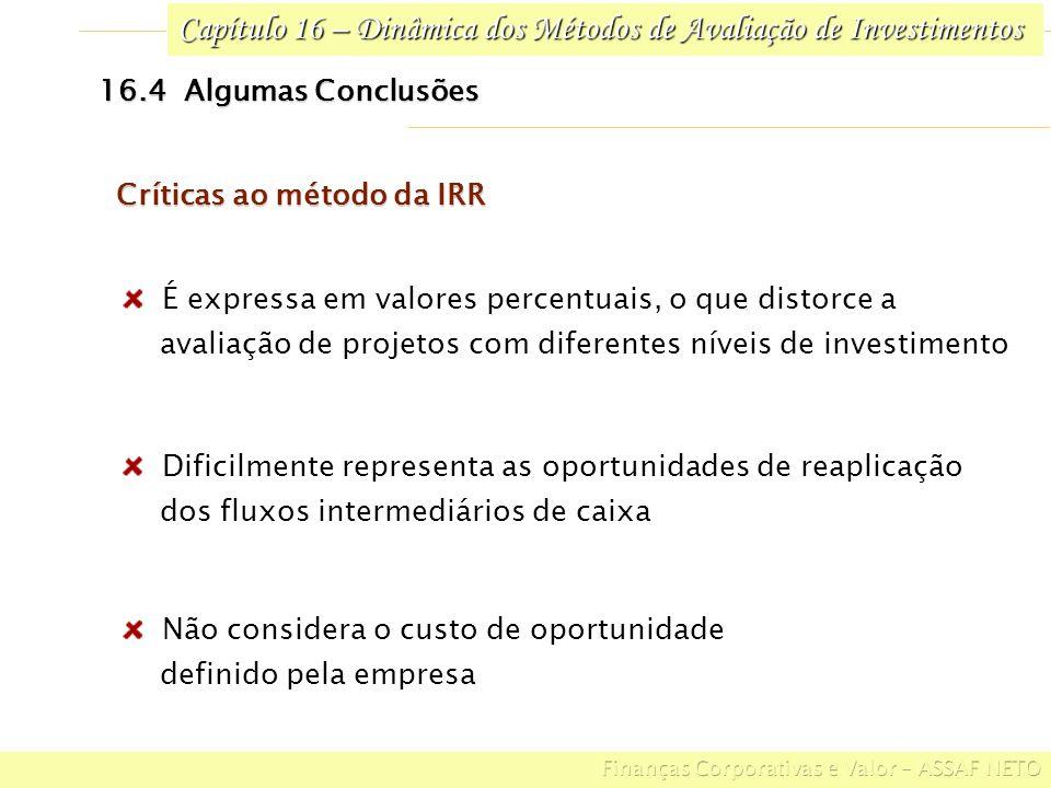 Capítulo 16 – Dinâmica dos Métodos de Avaliação de Investimentos 16.4 Algumas Conclusões Não considera o custo de oportunidade definido pela empresa D