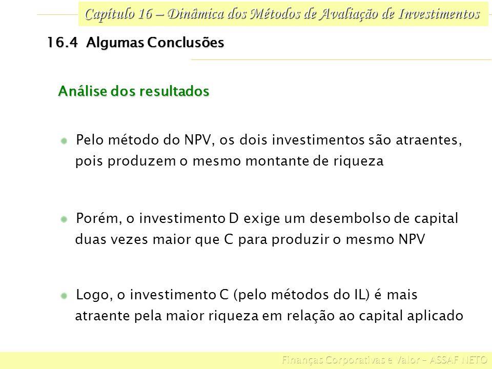 Capítulo 16 – Dinâmica dos Métodos de Avaliação de Investimentos 16.4 Algumas Conclusões Logo, o investimento C (pelo métodos do IL) é mais atraente p