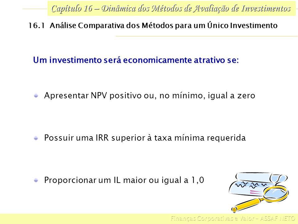 Capítulo 16 – Dinâmica dos Métodos de Avaliação de Investimentos 16.1 Análise Comparativa dos Métodos para um Único Investimento Admitindo o seguinte investimento: PERÍODOS (ANOS) ANO 0ANO 1ANO 2ANO 3ANO 4ANO 5 ($ 1.200,00)$ 200,00$ 400,00 $ 600,00 Ao definir em 15% a taxa periódica de atratividade para o investimento, temos: