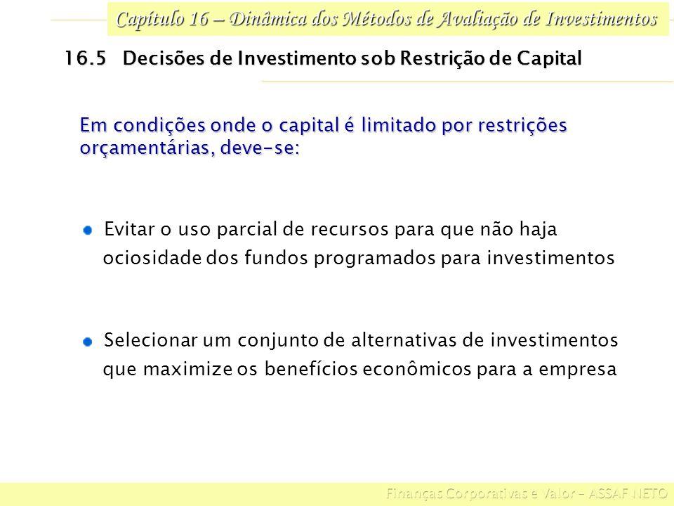 Capítulo 16 – Dinâmica dos Métodos de Avaliação de Investimentos 16.5 Decisões de Investimento sob Restrição de Capital Selecionar um conjunto de alte