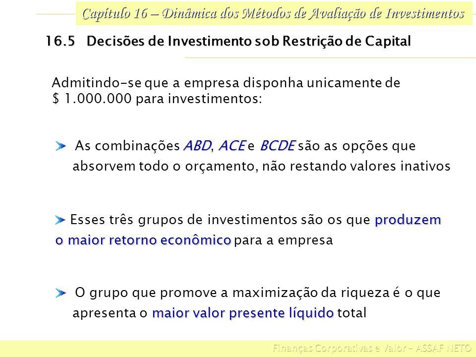 Capítulo 16 – Dinâmica dos Métodos de Avaliação de Investimentos 16.5 Decisões de Investimento sob Restrição de Capital produzem Esses três grupos de