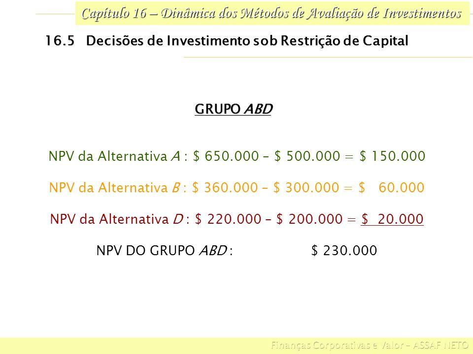 Capítulo 16 – Dinâmica dos Métodos de Avaliação de Investimentos 16.5 Decisões de Investimento sob Restrição de Capital GRUPO ABD NPV da Alternativa A