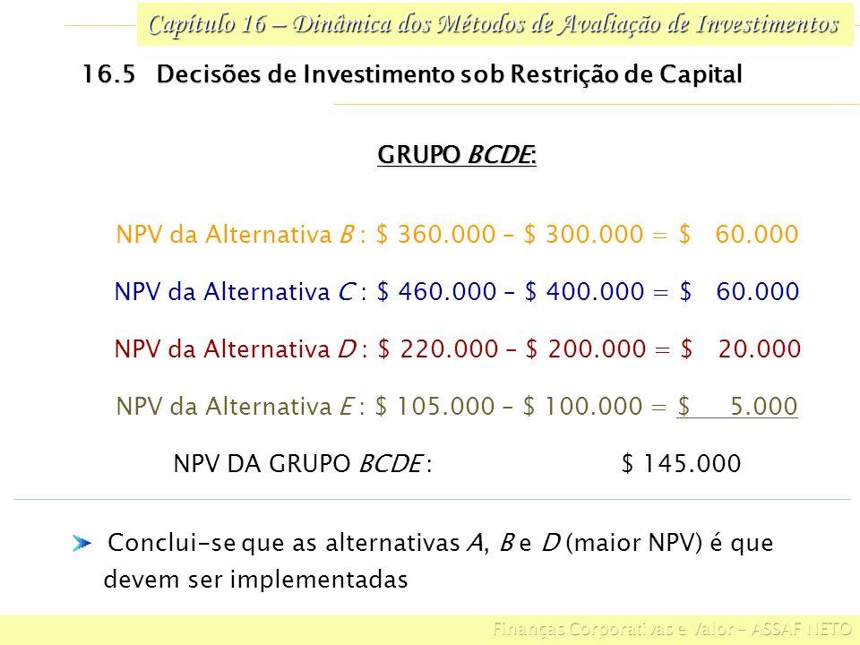 Capítulo 16 – Dinâmica dos Métodos de Avaliação de Investimentos 16.5 Decisões de Investimento sob Restrição de Capital GRUPO BCDE: NPV da Alternativa