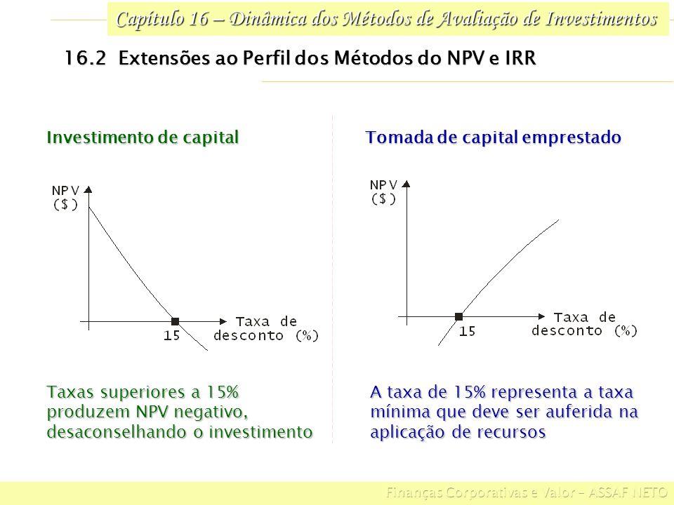 Capítulo 16 – Dinâmica dos Métodos de Avaliação de Investimentos 16.5 Decisões de Investimento sob Restrição de Capital GRUPO BCDE: NPV da Alternativa B : $ 360.000 – $ 300.000 = $ 60.000 NPV da Alternativa C : $ 460.000 – $ 400.000 = $ 60.000 NPV da Alternativa D : $ 220.000 – $ 200.000 = $ 20.000 NPV da Alternativa E : $ 105.000 – $ 100.000 = $ 5.000 NPV DA GRUPO BCDE : $ 145.000 Conclui-se que as alternativas A, B e D (maior NPV) é que devem ser implementadas