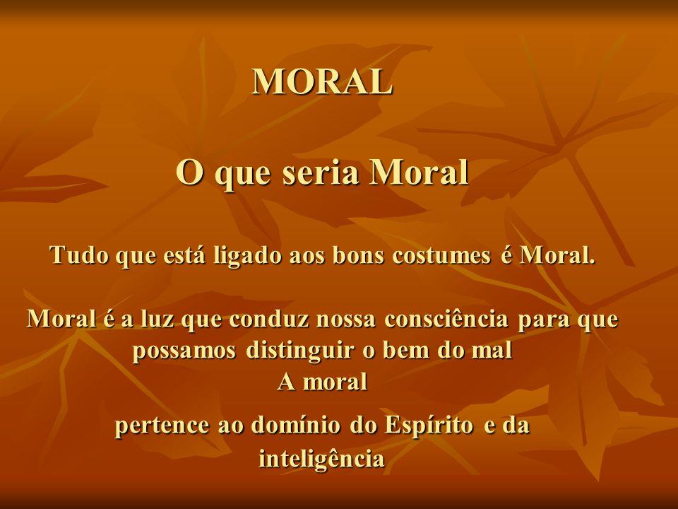 MORAL O que seria Moral Tudo que está ligado aos bons costumes é Moral. Moral é a luz que conduz nossa consciência para que possamos distinguir o bem