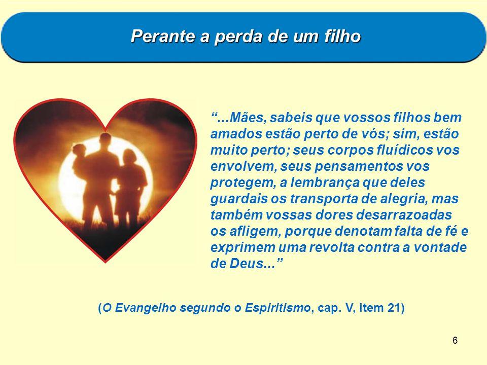 6...Mães, sabeis que vossos filhos bem amados estão perto de vós; sim, estão muito perto; seus corpos fluídicos vos envolvem, seus pensamentos vos pro