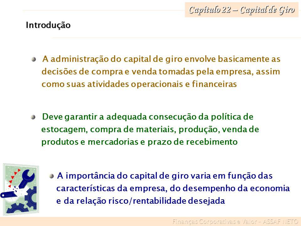 Introdução A administração do capital de giro envolve basicamente as decisões de compra e venda tomadas pela empresa, assim como suas atividades opera