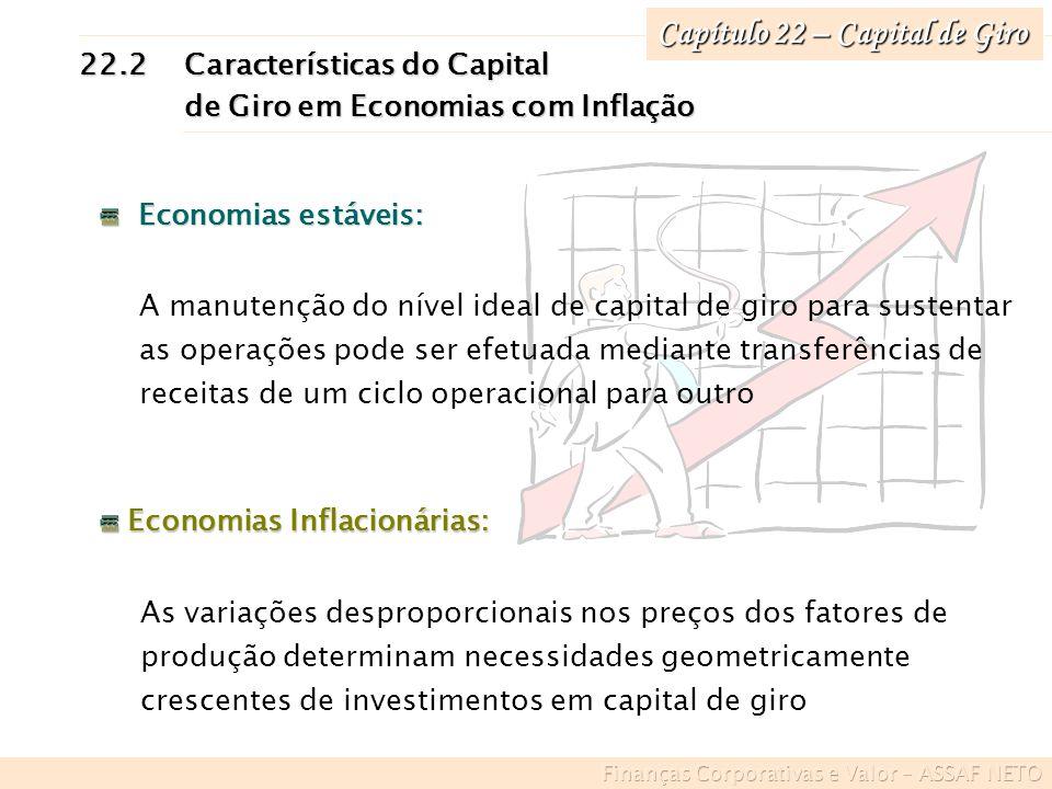 Capítulo 22 – Capital de Giro 22.2Características do Capital de Giro em Economias com Inflação de Giro em Economias com Inflação Economias estáveis: E