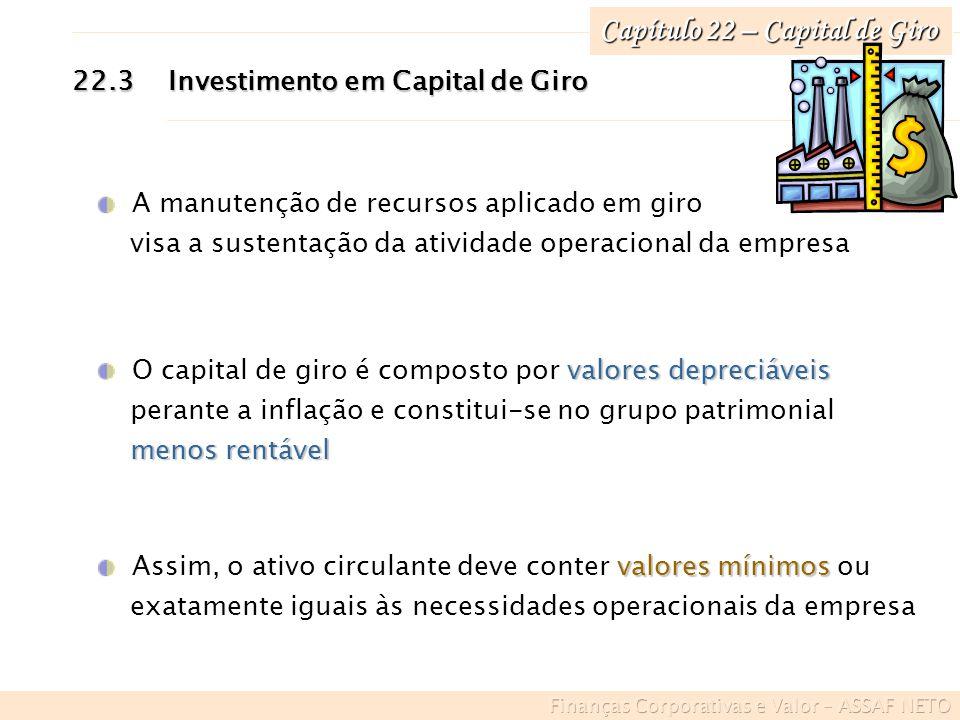 Capítulo 22 – Capital de Giro 22.3Investimento em Capital de Giro A manutenção de recursos aplicado em giro visa a sustentação da atividade operaciona