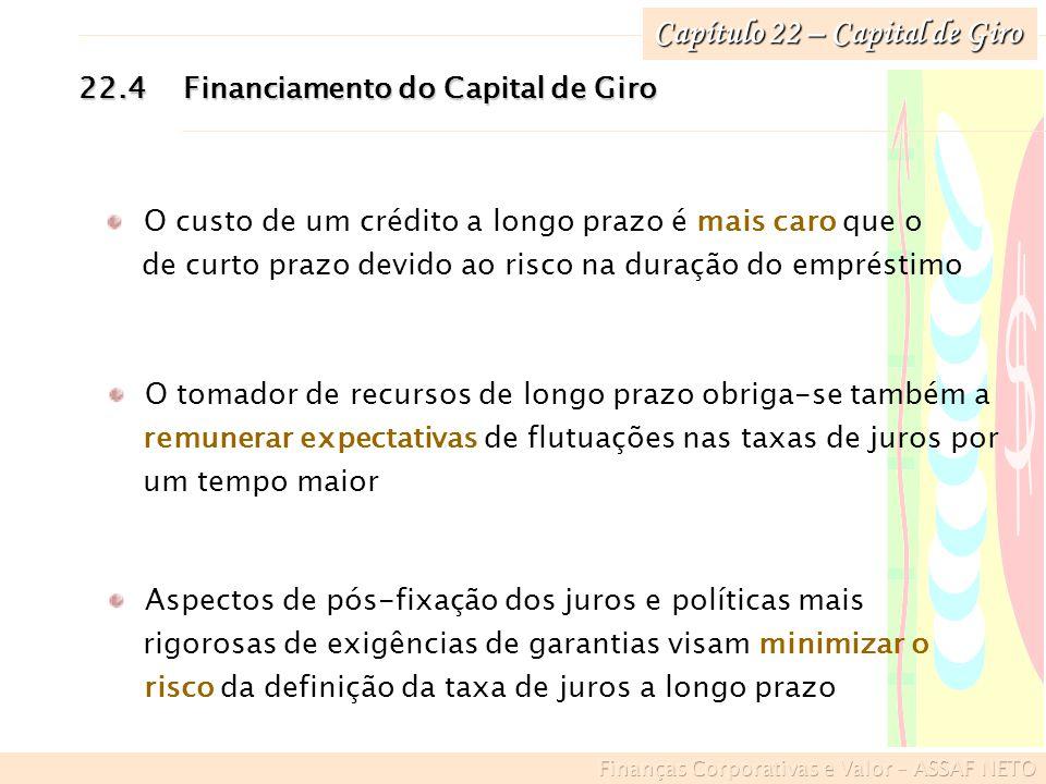 Capítulo 22 – Capital de Giro 22.4Financiamento do Capital de Giro O custo de um crédito a longo prazo é mais caro que o de curto prazo devido ao risc