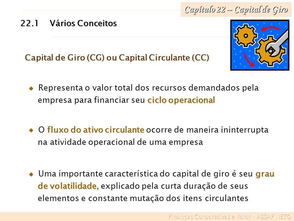 22.1Vários Conceitos Capital de Giro (CG) ou Capital Circulante (CC) Representa o valor total dos recursos demandados pela ciclo operacional empresa p