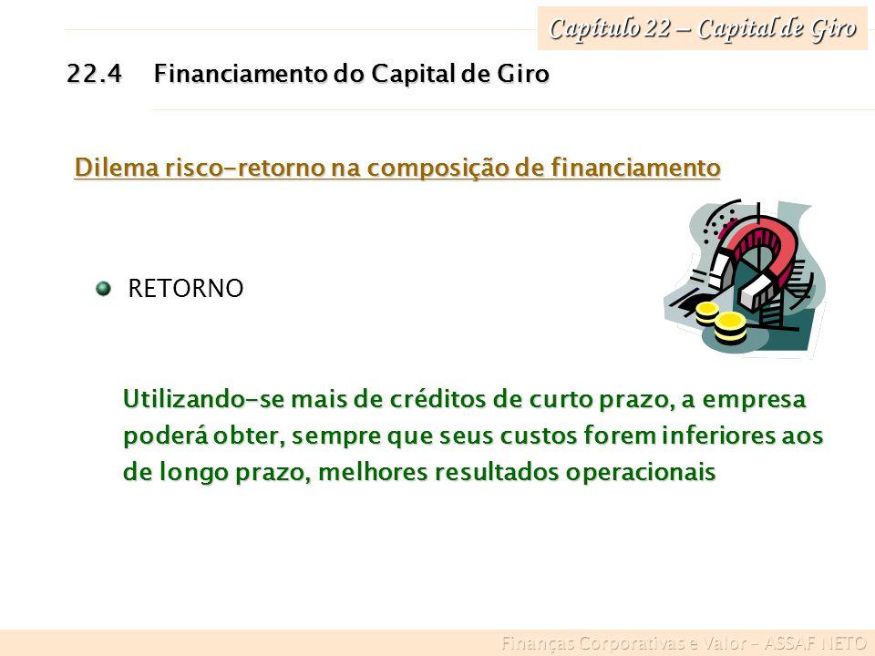 Capítulo 22 – Capital de Giro 22.4Financiamento do Capital de Giro Dilema risco-retorno na composição de financiamento Utilizando-se mais de créditos