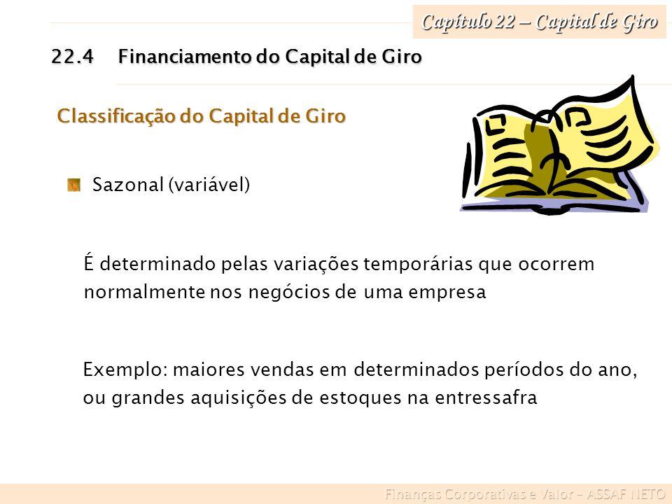 Capítulo 22 – Capital de Giro 22.4Financiamento do Capital de Giro Exemplo: maiores vendas em determinados períodos do ano, ou grandes aquisições de e