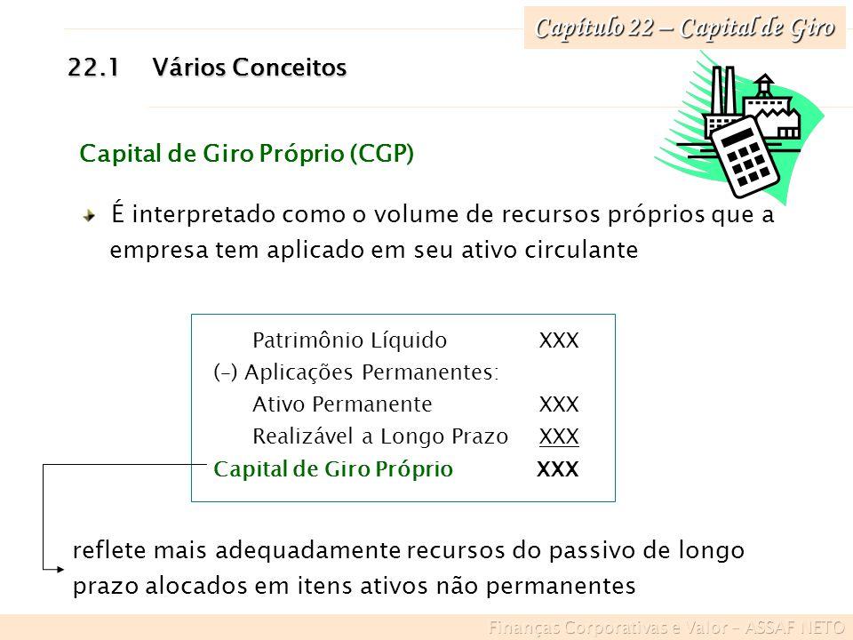 Capítulo 22 – Capital de Giro 22.1Vários Conceitos Capital de Giro Próprio (CGP) É interpretado como o volume de recursos próprios que a empresa tem a