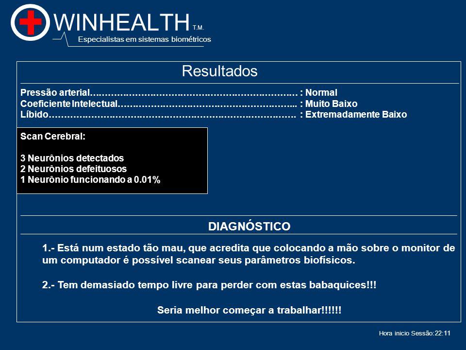 22:13 Hora inicio Sessão: WINHEALTH Especialistas em sistemas biométricos T.M.