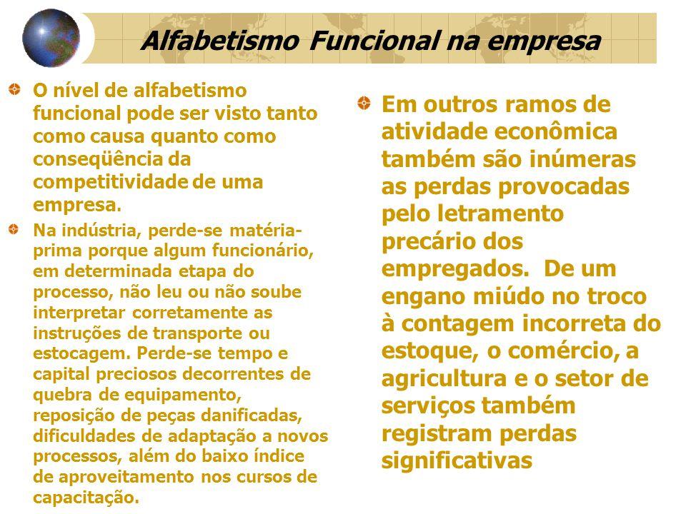 Alfabetismo Funcional na empresa O nível de alfabetismo funcional pode ser visto tanto como causa quanto como conseqüência da competitividade de uma empresa.