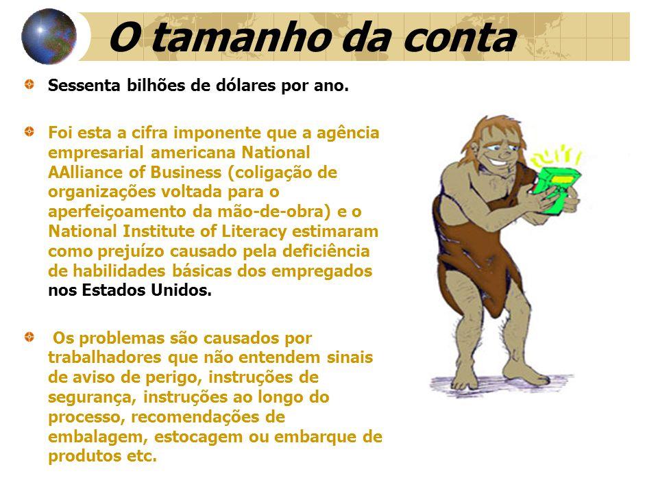 A CONTA NO BRASIL É difícil mensurar essas perdas, mas estima-se que por conta do alfabetismo precário, nas empresas brasileiras perde- se uma cifra entre US$ 6 bilhões e US$ 10 bilhões por ano.
